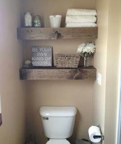 DIY Shelves Easy DIY Floating Shelves for bathroom,bedroom,kitchen,closet DIY bookshelves and Home Decor Ideas - Rustic Home Decor Diy Diy Closet, Shelves, Diy Shelves Easy, Wooden Floating Shelves, Bathroom Makeover, Home Decor, Small Bathroom, Home Diy, Bathroom Decor