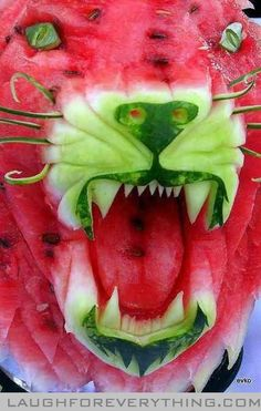 Watermelon lion food art
