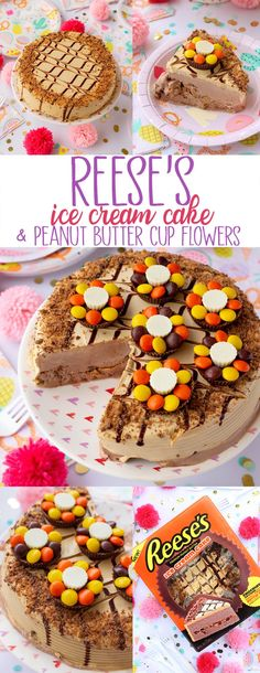 Sweeten Up Summer With Reese's Ice Cream Cake and Reese's Peanut Butter Cup Flowers! This dreamy dessert is just what you need to satisfy your sweet tooth during National Ice Cream Month in July. Dessert Cake Recipes, Easy No Bake Desserts, Delicious Desserts, Dessert Party, Sweet Desserts, Yummy Recipes, Yummy Food, Reese's Ice Cream Cake, Butter