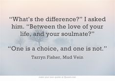 """""""the difference between the love of your life and your soulmate"""" -Tarryn Fisher, Mud Vein"""