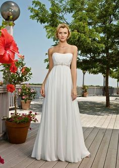 I love the simplicity of this Greek wedding dress. I would probably add a little more to the waist band