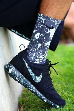 Custom Nike Roshe Run White Paint Splatter by DailyApparelCustoms
