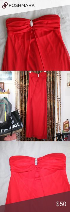 Long red prom dress Long red prom or formal dress. Can be worn strapless or tied around the neck. Size 6. About 46 inches long. Only worn once. Macy's Dresses Prom