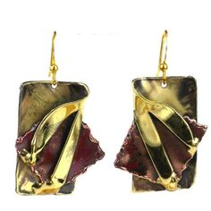 Layered Leaf Copper and Brass Earrings  Brass Images *** Check out the image by visiting the link.