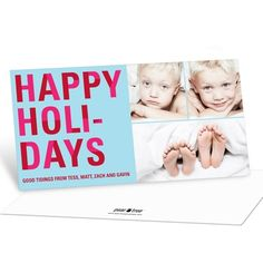 Photo Christmas Cards -- Bold Holiday Lettering in Blue