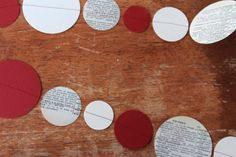 Red Ivory & Vintage Paper Garland 3m ONE by ALittleBitOfLemon