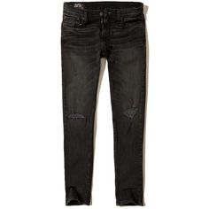 Hollister Skinny Jeans ($60) ❤ liked on Polyvore featuring men's fashion, men's clothing, men's jeans, black, mens ripped skinny jeans, mens torn jeans, mens distressed skinny jeans, mens ripped jeans and mens faded jeans