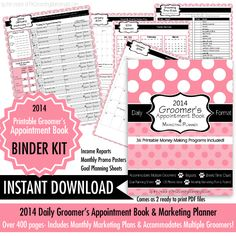 A brand new product: This 2014 Groomers Appointment Book & Marketing Planner is designed to take your grooming business to the next level. https://www.facebook.com/photo.php?fbid=703055796380920&set=a.392242334128936.95196.389161844436985&type=1 Coming next week!
