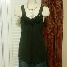 Black rose tank with clear stones Rosy tank tunic Tops Tank Tops