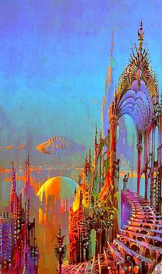 "Bruce Pennington - illustration for A.Van Vogt' ""The World of Null A"" Sci Fi Kunst, Science Fiction Kunst, Arte Sci Fi, 70s Sci Fi Art, Fantasy Kunst, Visionary Art, Fantasy Landscape, Retro Futurism, Psychedelic Art"