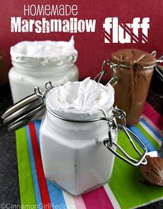 Homemade Marshmallow Fluff, using egg whites, sugar, corn syrup (can substitute honey or molasses), and vanilla. Voila!