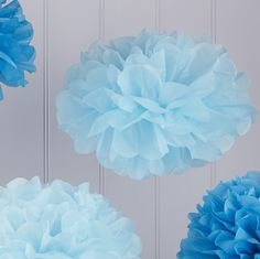 Our Baby & Dark Blue Pom Pom Set add to the mood and fun of any wedding, celebration or party. A great wedding decoration.Baby & Dark Blue Pom Pom Set - Our Baby & Dark Blue Pom Pom Set contains 3 large baby blue and 2 dark blue tissue paper P Blue Party Decorations, Pom Pom Decorations, Wedding Venue Decorations, Baby Shower Decorations, Shower Party, Baby Shower Parties, Baby Boy Shower, Baby Party, Globes