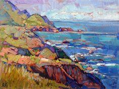 California Coast, small oil painting on board, by Erin Hanson #OilPaintingLandscape