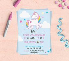 Kit anniversaire imprimable Licorne invitations par MimosaChroma