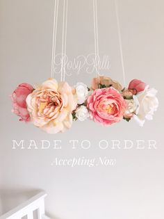 MADE TO ORDER Whimsical coral & peach nursery flower by RosyRilli