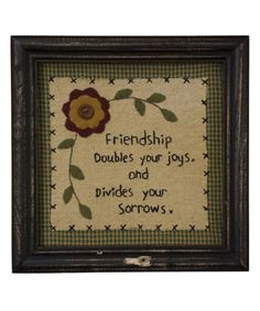 Loving this 'Friendship Doubles Your Joys' Framed Wall Art on #zulily! #zulilyfinds