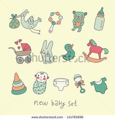 Toys, carriage, baby, stork in funny vector set — Stock Vector Baby Cartoon, Cute Cartoon, Toys Logo, Rabbit Baby, New Baby Products, Baby Boy, Logo Design, Funny, Illustration