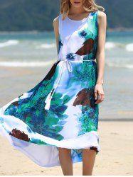 Graceful Round Collar Sleeveless Floral Print Chiffon Midi Dress For Women