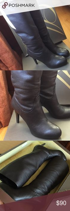 Pebbled Leather Boots | Size 7M Beautiful boots. Soft textured leather. Comfortable, thanks to a slight platform in the toe-box area. Only worn a few times (I'm not good in heels). Excellent condition. Box included. Style: EAGIBBONS. Enzo Angiolini Shoes Heeled Boots