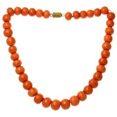 1940s Faceted Natural Red Coral Bead Gold Necklace GIA | From a unique collection of vintage more necklaces at https://www.1stdibs.com/jewelry/necklaces/more-necklaces/