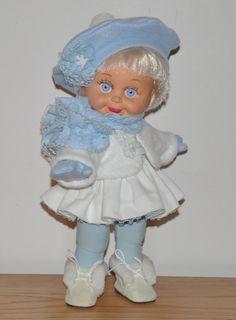 Blue Winter Skirt Set for Baby Face Dolls.