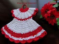 \ PINK ROSE CROCHET /: Pega Panelas Vestidinho ou Crochet Dress Pot Holder