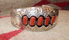 Navajo jewelry coral large sterling silver Native American Jewelry bracelet Texas quartger horse coral turquoise jewelry southwest jewelry by CherokeeKachinaCasey on Etsy