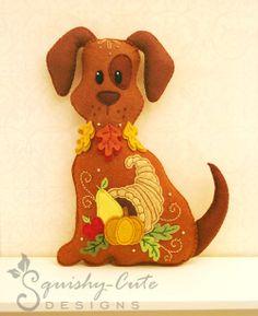 Dog Stuffed Animal Pattern - Felt Plushie Sewing Pattern & Tutorial - Harvest the Thanksgiving Dog - Thanksgiving Embroidery Pattern PDF via Etsy