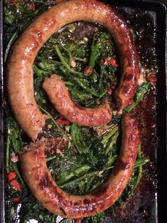 Rope Sausage With Roasted Rapini. New Music From Wild Wild Horses. – I Sing In The Kitchen Rappini Recipes, Sausage Recipes, Veggie Recipes, Italian Recipes, Cooking Recipes, Italian Sausage In Oven, Roasted Italian Sausage, Broccoli Rabe And Sausage