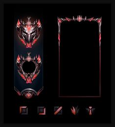 ArtStation - Ranked Rewards (League of Legends), Samuel Thompson Gui Interface, Red And Black Background, Game Card Design, Picture Templates, League Of Legends Game, Flame Art, Id Card Template, Game Icon, Illusion Art