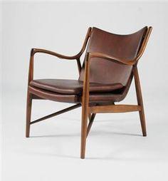Finn Juhl 1912-1989: Lounge chair, model NV45, with teak frame, upholstered in brown leather