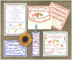 Design Ranges - We Are Tickled Pink birds, bunting, pompoms, pinwheels fun wedding stationery