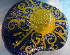 Beautiful Hand Painted Rock with Sun Design and Gorgeous Scroll Rays Bright Yellow with Sparkles .