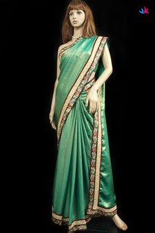 Avanthika,Vastrakraft,Green colour crepe saree with white bead studded floral b...