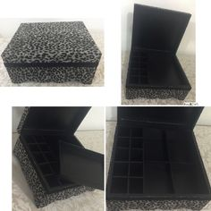 Animal Print - Caixa para Maquiagem   Caixa turca de MDF, tamanho: 21x19x10cm, 10 porta batons, bandeja removível e 4 divisórias na parte debaixo. Caixa toda pintada de preto e parte externa forrada com tecido de algodão e detalhe de rendinha preta.