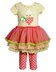 "Absolutely charming yellow and coral ""Chick"" tutu capri set by Bonnie Jean! (sz.12m-6x) #Easter"