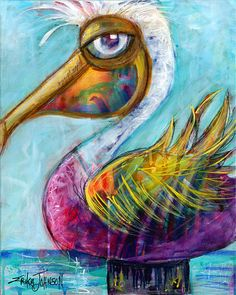 Purple Pelican from the Beach Bum Series - 8 x 10 inches Gallery wrap canvas art reproduction/print -See Variations for the perfect size