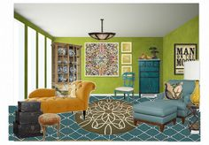 Mellow Yellow by megzeee features CR Laine's Camden Chair and Ottoman