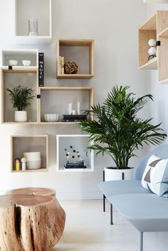 Muuto Stacked Shelving creates a flexible and playful display area.