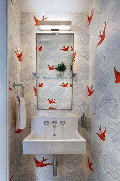 My favorite room that 'asks' for wallpaper is the powder room. A powder room (often called half bath or guest bath, is usually a small bathroom with only a toilet and a sink. Tiny Powder Rooms, Modern Powder Rooms, Modern Bathrooms, Powder Room Decor, Powder Room Design, Powder Room Wallpaper, Bathroom Wallpaper, Wallpaper Decor, Bird Wallpaper Bedroom