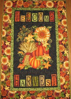 Autumn Wall Hanging  fall pumpkins fall leaves fabric from