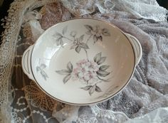 Spring Glory by Ancestral American Hostess, Fine Translucent China, 10 inch Round Vegetable Bowl by MyComfyCozyHome on Etsy