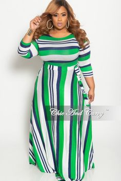 711c81eb583 New Plus Size Long Sleeve V-Neck Gown in Striped Multi Color Floral Print  in 2019