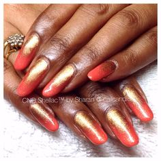 Natural nails - orange and gold ombré. CND Shellac and additives :) Moisturizer For Dry Skin, Stiletto Nails, Orange, Natural Nails, Nail Art, Gold, Cnd Shellac, Nail Arts, Nail Art Designs