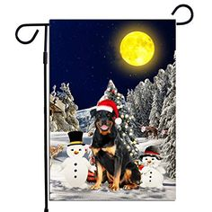 PrintYmotion Rottweiler Dog with Snowman Christmas Holidays Garden Flag, Dog Lovers Gift (12 x 18 Inches) PrintYmotion #Rottweiler #Dog Lovers gift #Christmas Gift #Christmas Flag