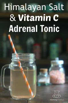 Himalayan Salt & Vitamin C Adrenal Support Tonic Himalayan Salt And Vitamin C Adrenal Tonic - It's so simple it can only be called an un-recipe, but this tip from Dr. Wilson's book - Adrenal Fatigue: The Century Stress Syndrome - has been SO HELPFULl Fadiga Adrenal, Adrenal Health, Adrenal Fatigue Diet, Adrenal Glands, Adrenal Fatigue Treatment, Vitamin C, Natural Cures, Natural Health, Health And Wellness