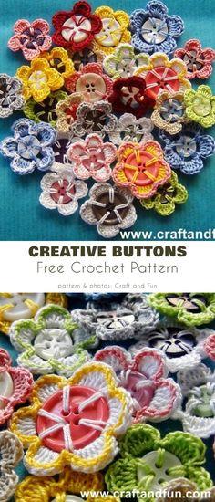 Flowered Button Free Crochet Patterns Butterfly Flowers, Butterflies, Crochet Buttons, Flower Corsage, Eye For Detail, Crochet Patterns, Crochet Ideas, Simple Flowers, Button Flowers
