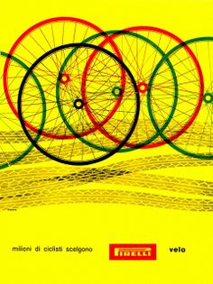 """Bob Noorda illustration: """"Millions of cyclists choose Pirelli tyres"""". From Graphis Annual '59/'60."""