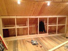 Finished Attic Doors - Gisella P. Attic Bedroom Closets, Attic Bedroom Designs, Attic Closet, Upstairs Bedroom, Bedroom Loft, Attic Doors, Garage Attic, Attic Renovation, Attic Remodel