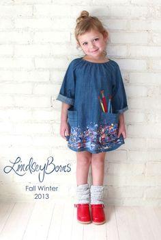 Lindsey Berns #kids Denim Artist Smock Dress